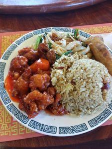 Sweet and Sour Pork, Mongolian Beef, and Pork Fried Rice